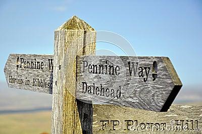 Engels platteland: teken post bovenop heuvel