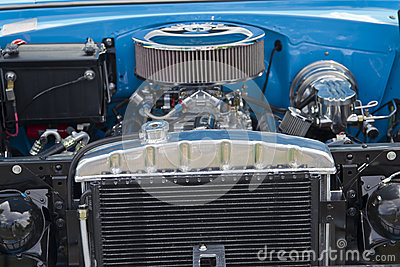 Engine of 1955 Chevrolet Bel Air Editorial Photo