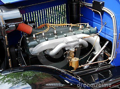 Engine in antique car
