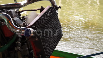 Engine of Long Tail Boat. A footage of engine of a long-tail boat before it runs stock video