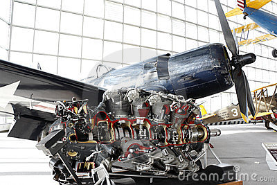 Engine of the propeller fighter airplane Editorial Stock Image