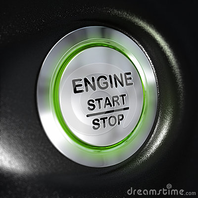 Engine Start And Stop Button Automobile Starter Stock