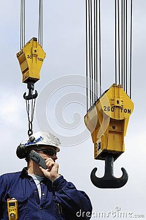 Free Engineer And Large Crane Hooks Royalty Free Stock Images - 13154949