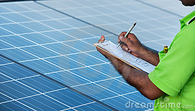 Engineer checking solar  station
