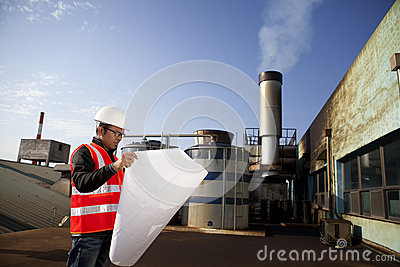 Engineer cheking plant