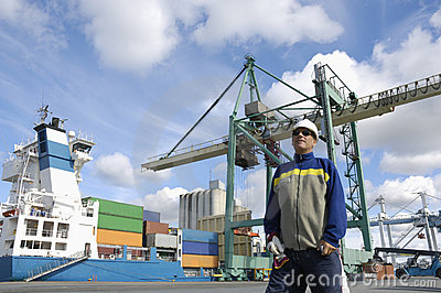 Engineer in a commercial port