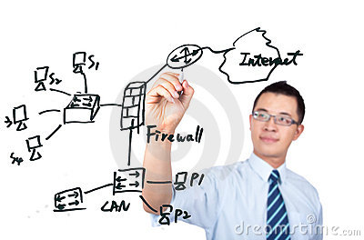 Engineer drawing  internet network graph