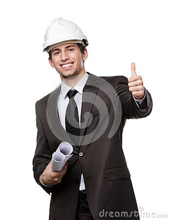 Engineer in hard hat thumbs up