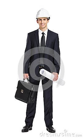 Free Engineer In Helmet Handing Blueprint And Briefcase Royalty Free Stock Image - 37290326