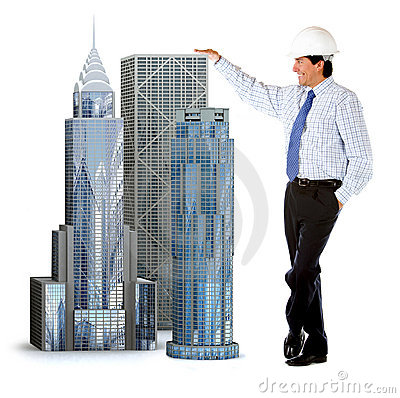 Engineer leaning on buildings