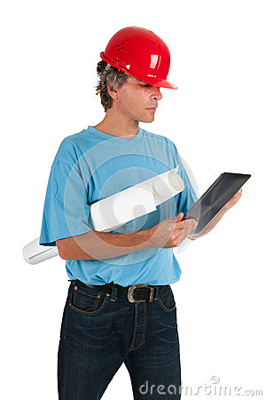 Engineer looking on tablet
