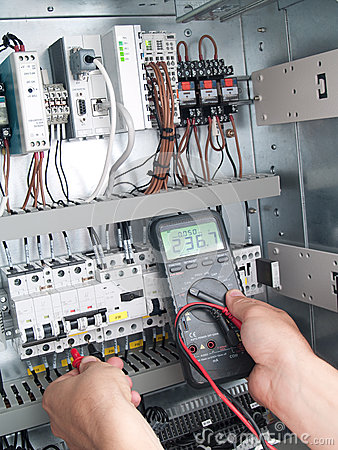Free Engineer Makes Maintenance Of Power Network Automation Stock Photography - 33101302