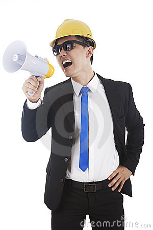 Engineer with megaphone