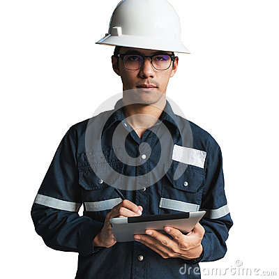 Free Engineer Or Technician In White Helmet, Glasses And Blue Working Stock Image - 94762651