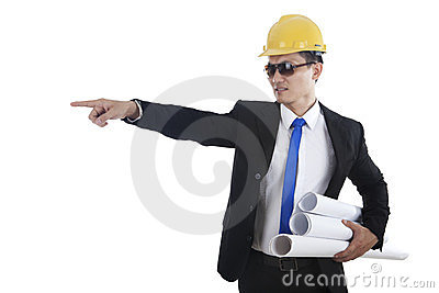 Engineer pointing