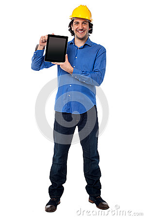 Engineer showing his new touch pad device