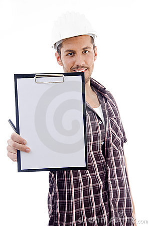 Engineer showing writing pad
