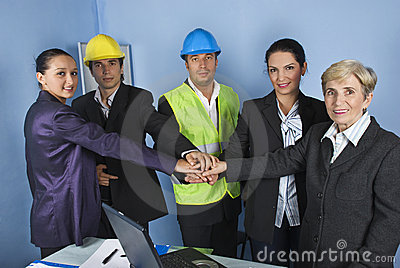 Engineer team with united hands
