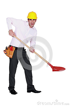 Engineer using a spade