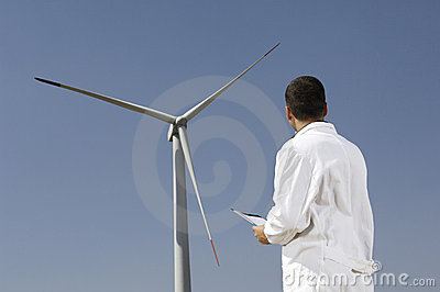 Engineer and wind turbines