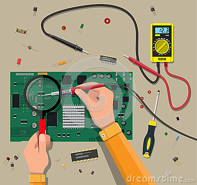Free Engineer With Multimeter Checks Motherboard Stock Photography - 89976732