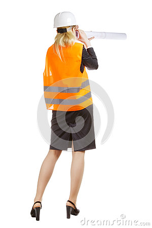 Engineer Woman With Drawing