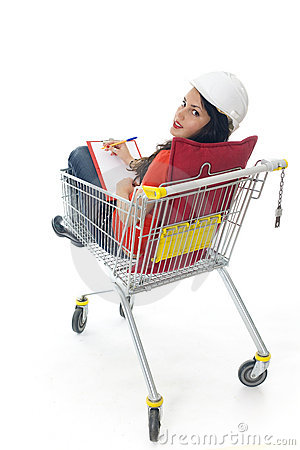 Engineer woman in shopping cart