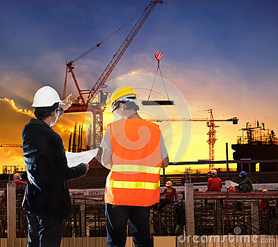 Free Engineering Man Working In Building Construction Site With Worke Royalty Free Stock Photo - 45169105