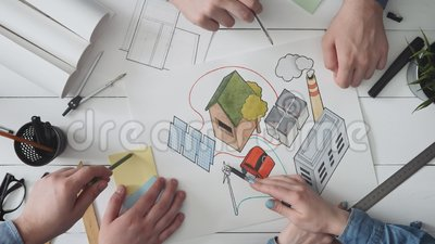 Engineering team working on a renewable energy concept. Stock footage stock footage