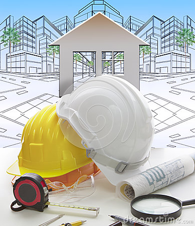 Free Engineering Working Table Writing Tool ,equipment ,and Safety Helmet Against Two Point Perspective Of Building Exterior Stock Images - 47758624