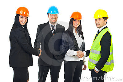 Engineers and architects teams  handshakes
