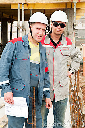 Engineers builders at construction