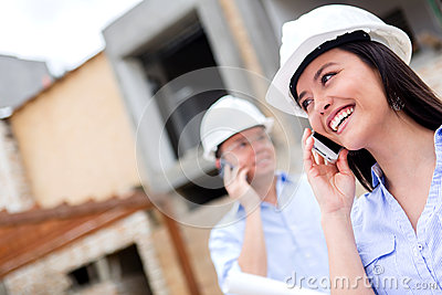 Engineers talking on the phone