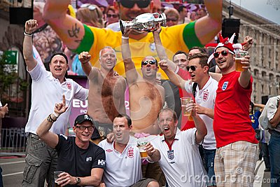 England fans arrive in the fanzone Editorial Photo