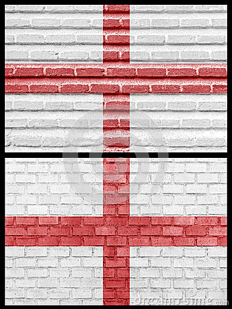 England flag on different brick walls