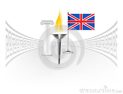 England flag with torch