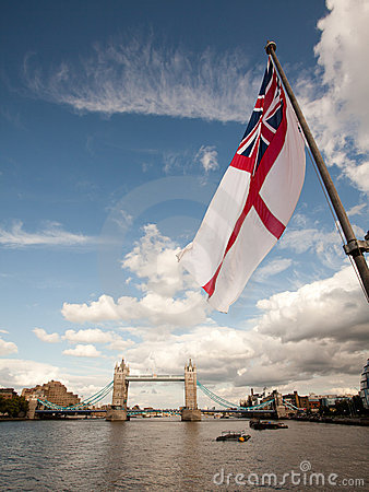 England flag and Tower Bridge