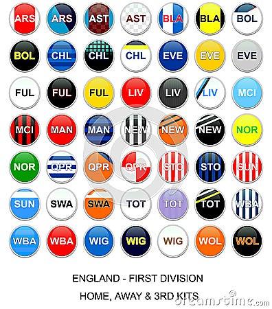 England futbolowe zestawu liga drużyny