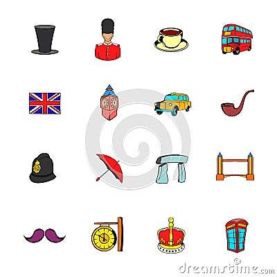 England icons set cartoon