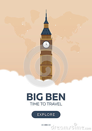 England. London. Big Ben. Time to travel. Travel poster. Vector flat illustration.
