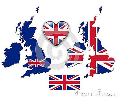 England UK flag, map.