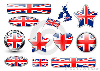 England, United Kingdom flag buttons