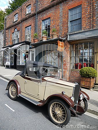 England: vintage car and old shops