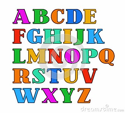 English Alphabet, Capital Letters, Colored With A Thin Outline ...
