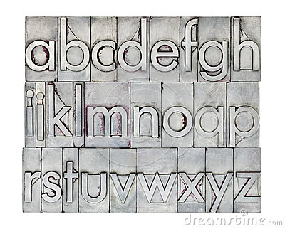 English alphabet in metal type