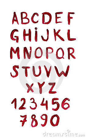 English alphabet painted with red paint