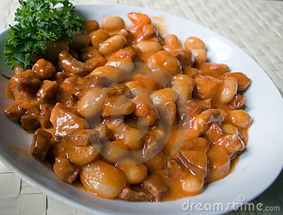 English beans with bacon.