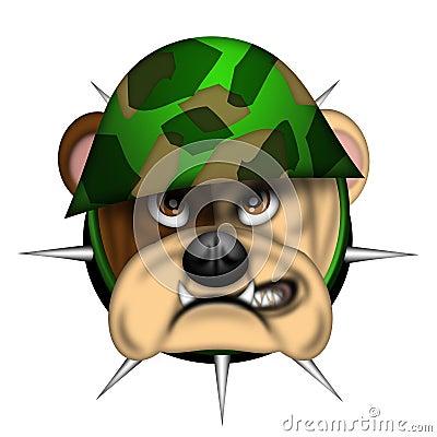 English Bull Dog Head with Army Helmet