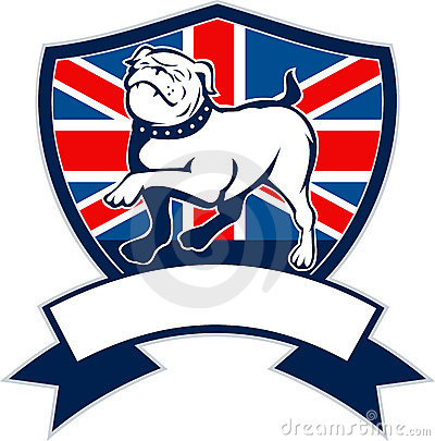 English bulldog Great Britain flag