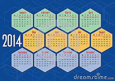 2014 english calendar with hexagons